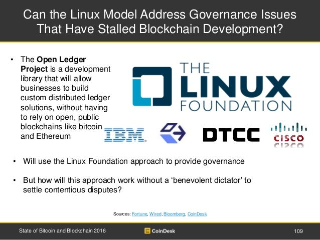 Can the Linux Model Address Governance Issues That Have Stalled Blockchain Development? 109State of Bitcoin and Blockchain...