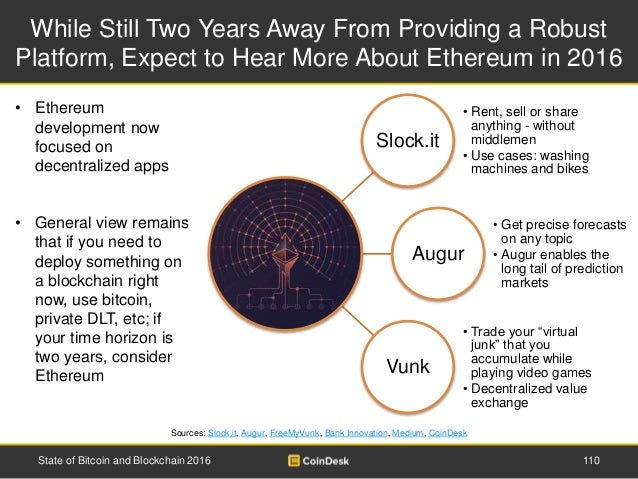 While Still Two Years Away From Providing a Robust Platform, Expect to Hear More About Ethereum in 2016 110State of Bitcoi...