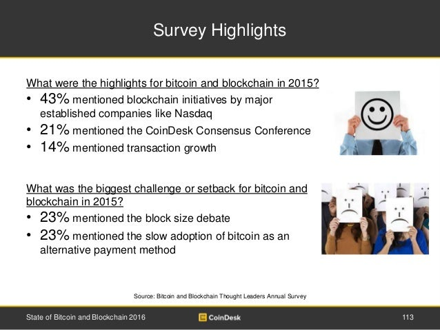 Survey Highlights State of Bitcoin and Blockchain 2016 113 Source: Bitcoin and Blockchain Thought Leaders Annual Survey Wh...