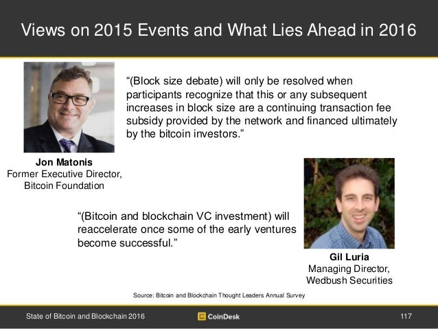 Views on 2015 Events and What Lies Ahead in 2016 Source: Bitcoin and Blockchain Thought Leaders Annual Survey State of Bit...