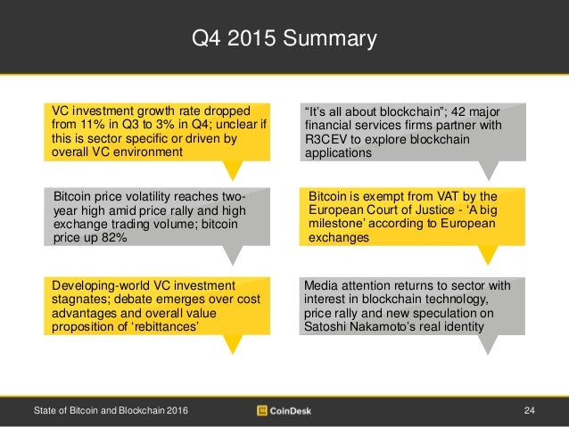 Q4 2015 Summary 24State of Bitcoin and Blockchain 2016 Bitcoin is exempt from VAT by the European Court of Justice - 'A bi...