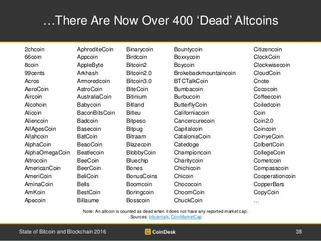 …There Are Now Over 400 'Dead' Altcoins Note: An altcoin is counted as dead when it does not have any reported market cap....