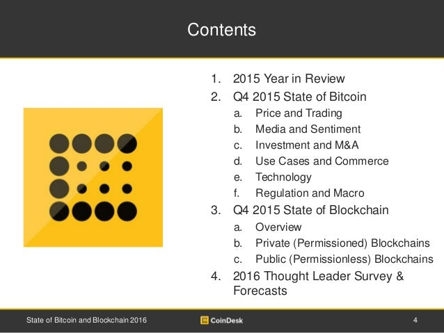 Contents 1. 2015 Year in Review 2. Q4 2015 State of Bitcoin a. Price and Trading b. Media and Sentiment c. Investment and ...