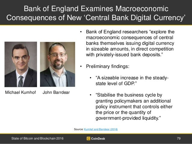 Bank of England Examines Macroeconomic Consequences of New 'Central Bank Digital Currency' Source: Kumhof and Barrdear (20...
