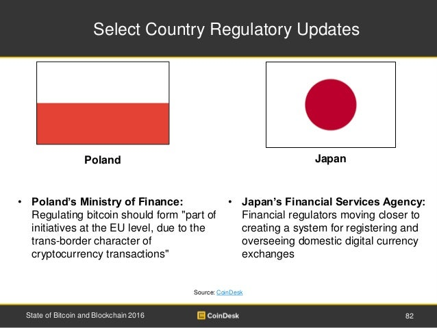 Select Country Regulatory Updates 82State of Bitcoin and Blockchain 2016 Source: CoinDesk • Poland's Ministry of Finance: ...