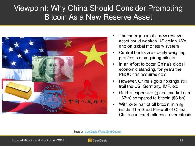 Viewpoint: Why China Should Consider Promoting Bitcoin As a New Reserve Asset Sources: CoinDesk, World Gold Council • The ...