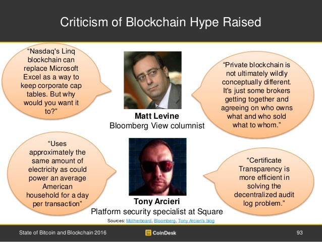 Criticism of Blockchain Hype Raised Sources: Motherboard, Bloomberg, Tony Arcieri's blog State of Bitcoin and Blockchain 2...
