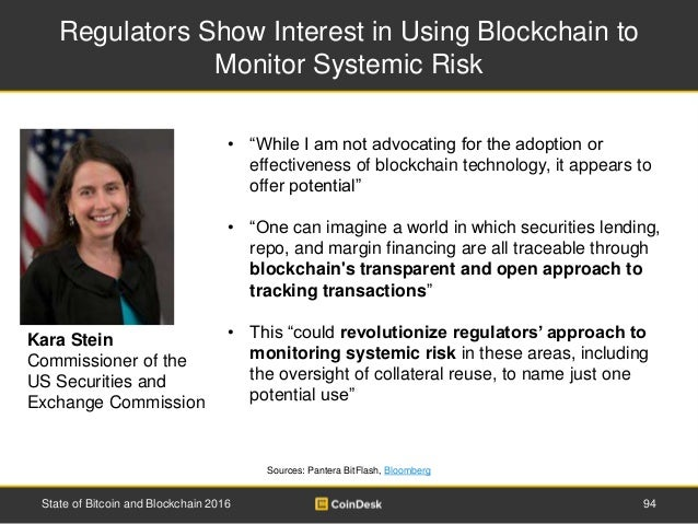Regulators Show Interest in Using Blockchain to Monitor Systemic Risk Sources: Pantera BitFlash, Bloomberg State of Bitcoi...