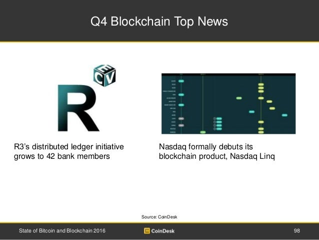 Q4 Blockchain Top News 98State of Bitcoin and Blockchain 2016 R3's distributed ledger initiative grows to 42 bank members ...