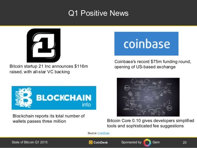 Sponsored by Gem Q1 Positive News 20State of Bitcoin Q1 2015 Coinbase's record $75m funding round, opening of US-based exc...
