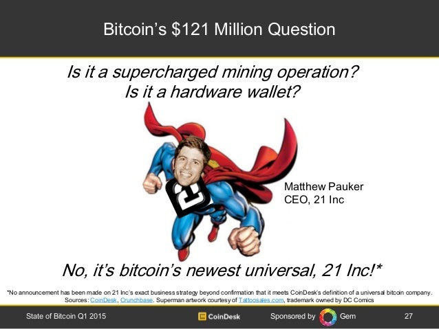 Sponsored by Gem Bitcoin's $121 Million Question 27State of Bitcoin Q1 2015 *No announcement has been made on 21 Inc's exa...