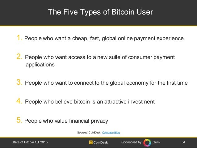Sponsored by Gem The Five Types of Bitcoin User 54State of Bitcoin Q1 2015 1. People who want a cheap, fast, global online...
