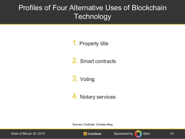 Sponsored by Gem Profiles of Four Alternative Uses of Blockchain Technology 61State of Bitcoin Q1 2015 1. Property title 2...