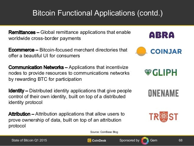 Sponsored by Gem Bitcoin Functional Applications (contd.) 68State of Bitcoin Q1 2015 Source: CoinBase Blog Remittances – G...