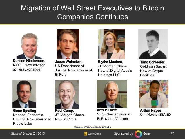 Sponsored by Gem Migration of Wall Street Executives to Bitcoin Companies Continues 77State of Bitcoin Q1 2015 Sources: WS...