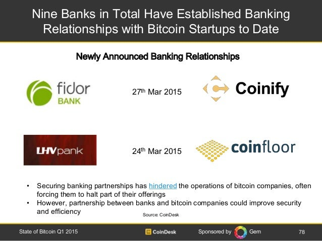 Sponsored by Gem Nine Banks in Total Have Established Banking Relationships with Bitcoin Startups to Date 78State of Bitco...