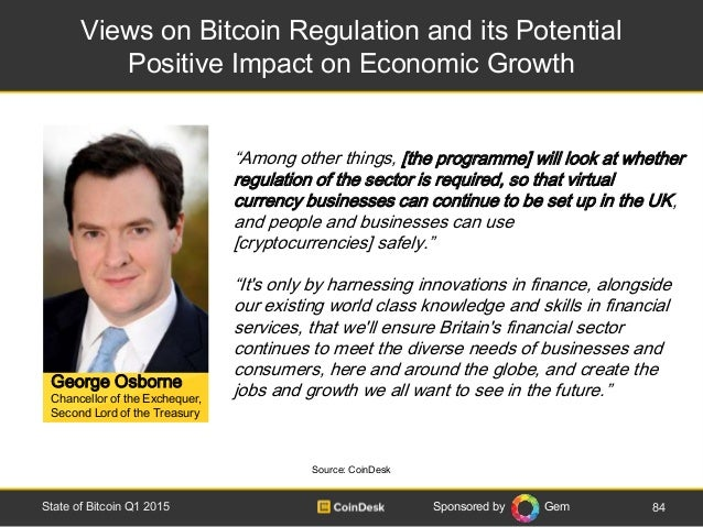 Sponsored by Gem Views on Bitcoin Regulation and its Potential Positive Impact on Economic Growth 84State of Bitcoin Q1 20...
