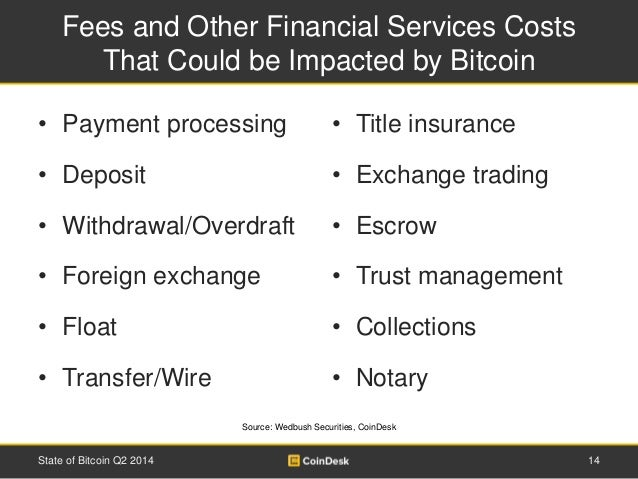 Fees and Other Financial Services Costs  That Could be Impacted by Bitcoin  • Payment processing  • Deposit  • Withdrawal/...