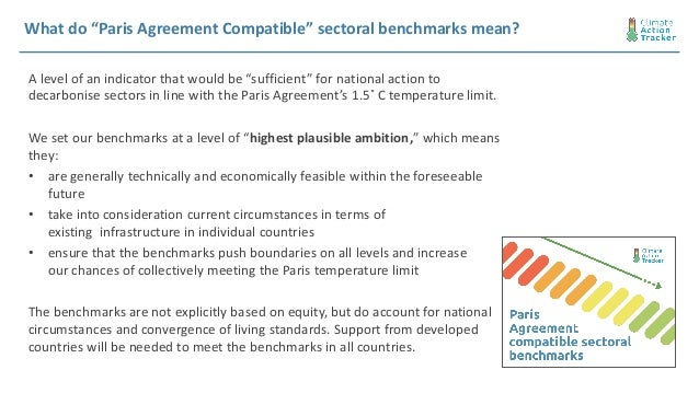"""What do """"Paris Agreement Compatible"""" sectoral benchmarks mean? A level of an indicator that would be """"sufficient"""" for nati..."""