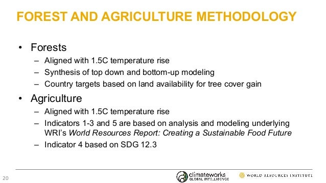 FOREST AND AGRICULTURE METHODOLOGY • Forests – Aligned with 1.5C temperature rise – Synthesis of top down and bottom-up mo...