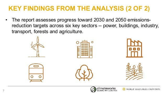 KEY FINDINGS FROM THE ANALYSIS (2 OF 2) • The report assesses progress toward 2030 and 2050 emissions- reduction targets a...