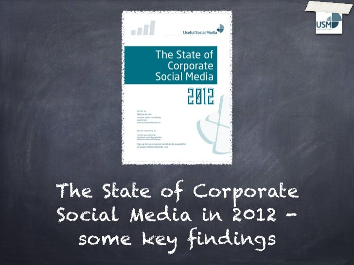 The State of CorporateSocial Media in 2012 -  some key findings