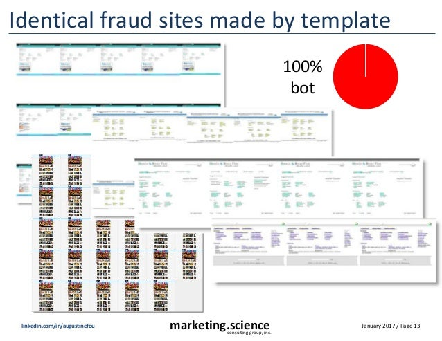 January 2017 / Page 13marketing.scienceconsulting group, inc. linkedin.com/in/augustinefou Identical fraud sites made by t...
