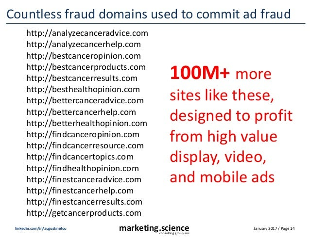 January 2017 / Page 14marketing.scienceconsulting group, inc. linkedin.com/in/augustinefou Countless fraud domains used to...