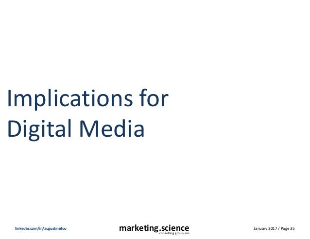 January 2017 / Page 35marketing.scienceconsulting group, inc. linkedin.com/in/augustinefou Implications for Digital Media