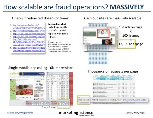January 2017 / Page 3marketing.scienceconsulting group, inc. linkedin.com/in/augustinefou How scalable are fraud operation...