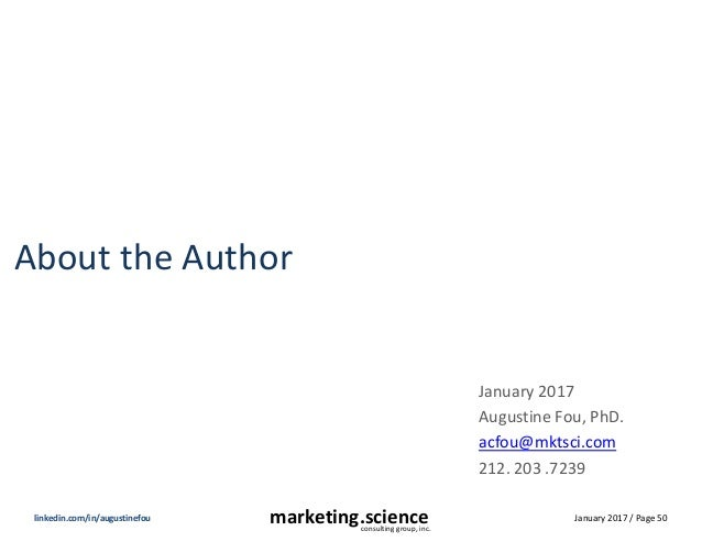 January 2017 / Page 50marketing.scienceconsulting group, inc. linkedin.com/in/augustinefou About the Author January 2017 A...