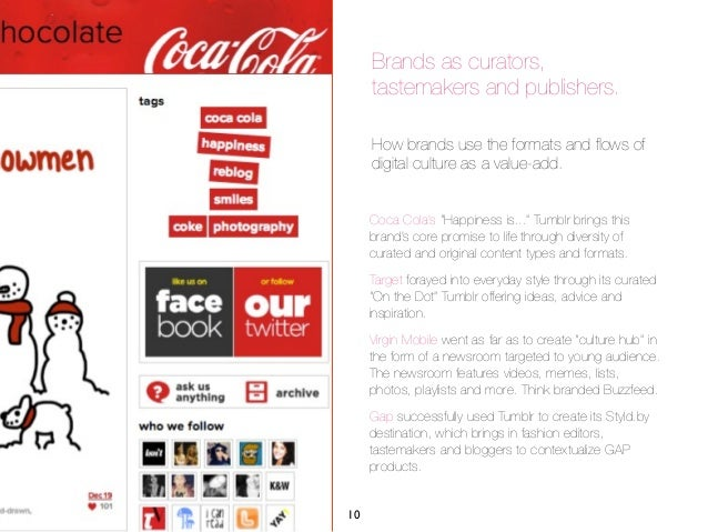 Brands as curators,     tastemakers and publishers.     How brands use the formats and flows of     digital culture as a va...