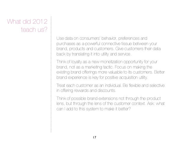 What did 2012    teach us?                Use data on consumers' behavior, preferences and                purchases as a p...