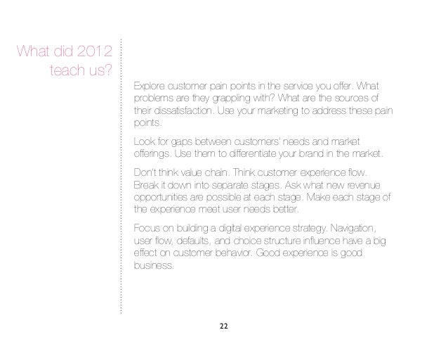 What did 2012    teach us?                Explore customer pain points in the service you offer. What                probl...