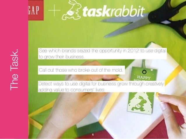 See which brands seized the opportunity in 2012 to use digitalThe Task.            to grow their business.            Call...