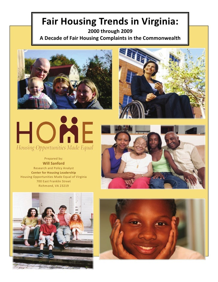 State of fair housing in virginia report  july 19, 2010