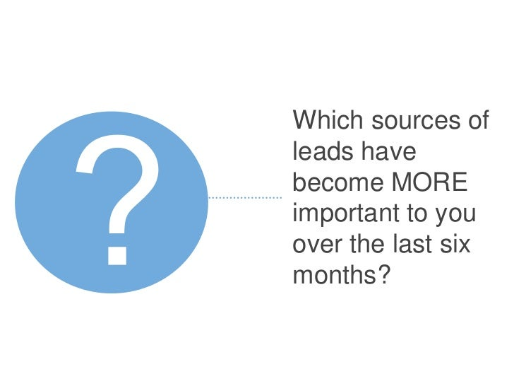 Which sources ofleads havebecome MOREimportant to youover the last sixmonths?