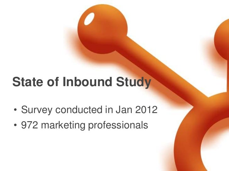 State of Inbound Study• Survey conducted in Jan 2012• 972 marketing professionals
