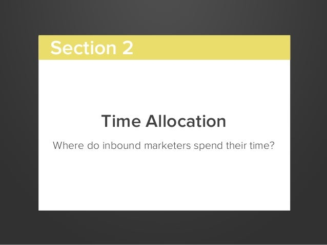 Time AllocationWhere do inbound marketers spend their time?Section 2