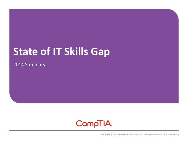 Copyright (c) 2014 CompTIA Properties, LLC. All Rights Reserved. | CompTIA.org State of IT Skills Gap 2014 Summary