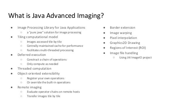 Java Image Processing for Geospatial Community