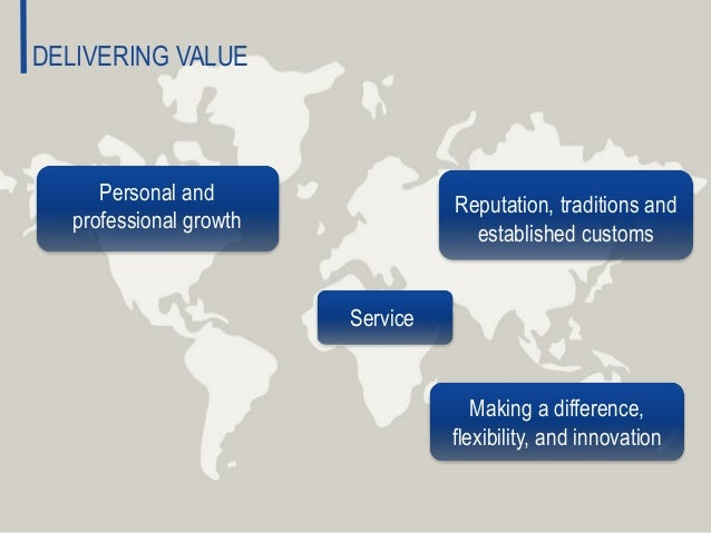 Reputation, traditions and established customs Making a difference, flexibility, and innovation Personal and professional ...