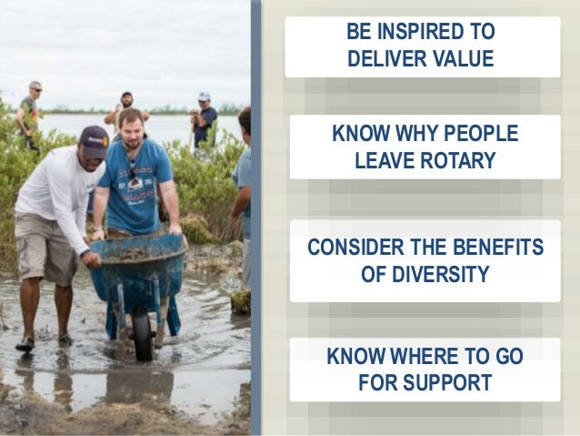 3 BE INSPIRED TO DELIVER VALUE KNOW WHY PEOPLE LEAVE ROTARY CONSIDER THE BENEFITS OF DIVERSITY KNOW WHERE TO GO FOR SUPPORT