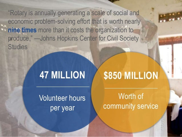 """7 """"Rotary is annually generating a scale of social and economic problem-solving effort that is worth nearly nine times mor..."""