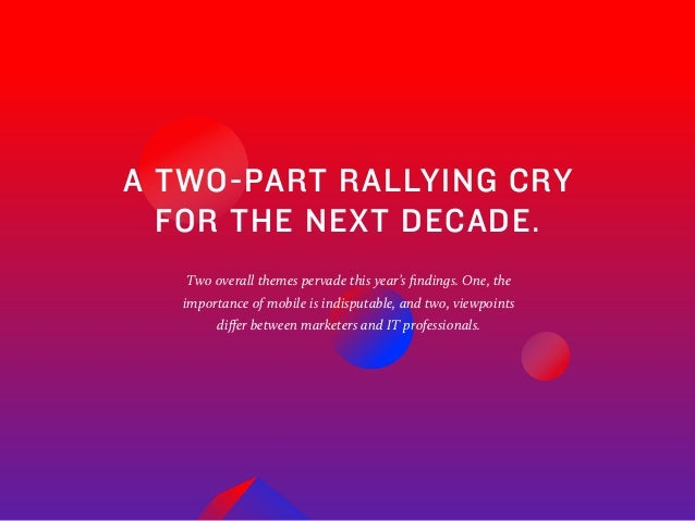 6 A TWO-PART RALLYING CRY FOR THE NEXT DECADE. Two overall themes pervade this year's findings. One, the importance of mob...
