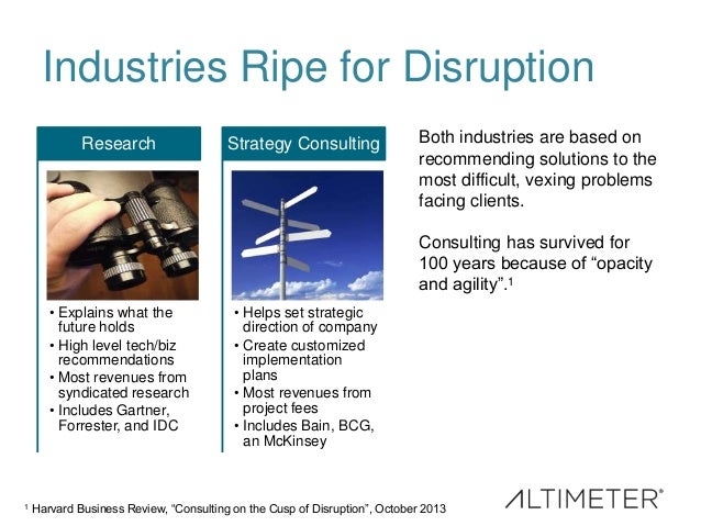 Industries Ripe for Disruption • Explains what the future holds • High level tech/biz recommendations • Most revenues from...