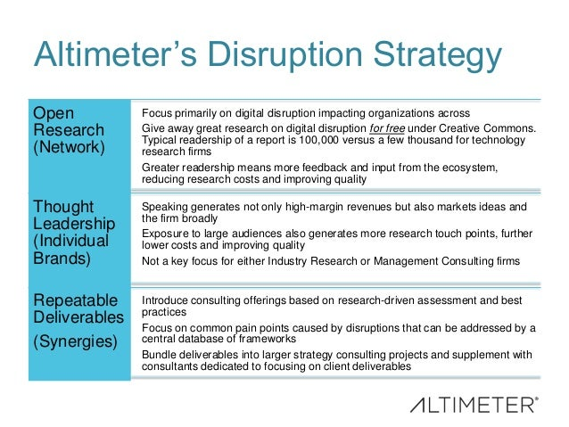 Altimeter's Disruption Strategy Open Research (Network) Focus primarily on digital disruption impacting organizations acro...