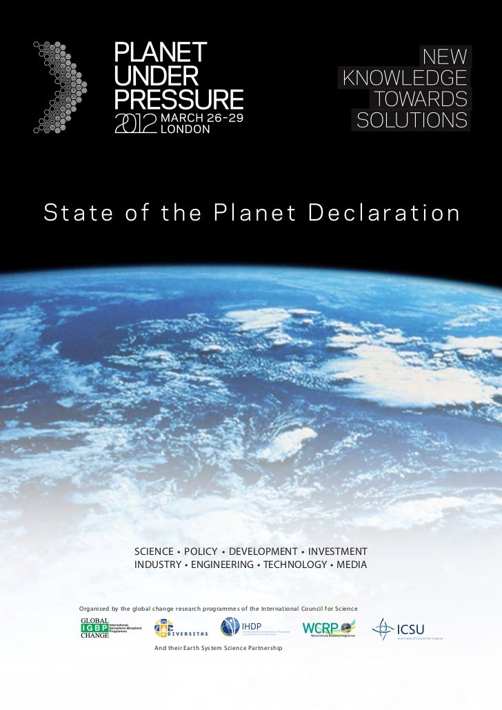 State of the Planet Declaration                    SCIENCE • POLICY • DEVELOPMENT • INVESTMENT                    INDUSTRY...