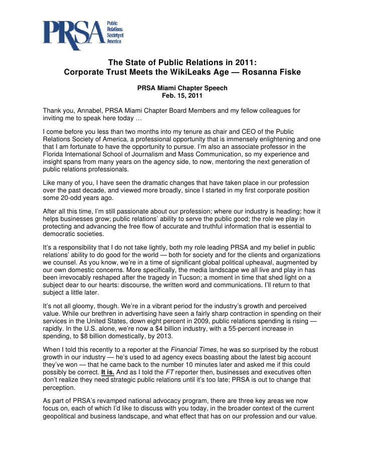 The State of Public Relations in 2011:       Corporate Trust Meets the WikiLeaks Age — Rosanna Fiske                      ...