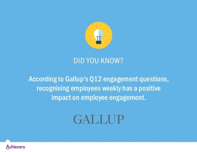 DID YOU KNOW? According to Gallup's Q12 engagement questions, recognising employees weekly has a positive impact on employ...